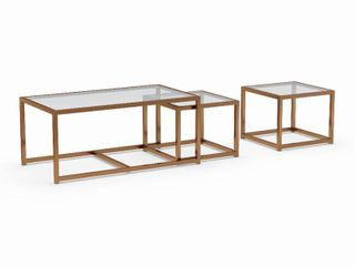 Silver Orchid Grant Nesting Coffee  End Table 3 piece Set
