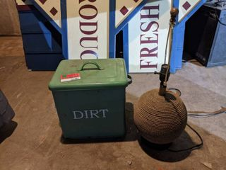 Vintage Tin Container And lamp