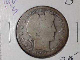 1902 S Barber Half Dollar
