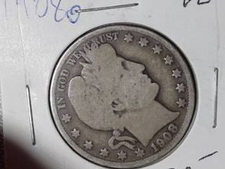 1908 O Barber Half Dollar