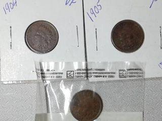 1904  1905  1906 Indian Head Pennies
