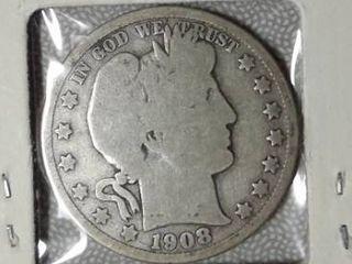 1908 D Barber Half Dollar