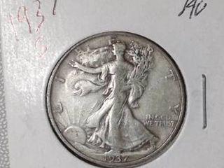 1937 S Walking liberty Half Dollar