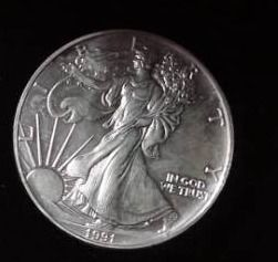 1991 1 troy oz  Fine Silver Eagle in Case