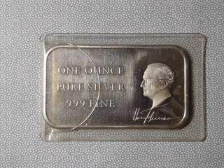 1 oz Fine Silver Harry S  Truman Commemorative Bar