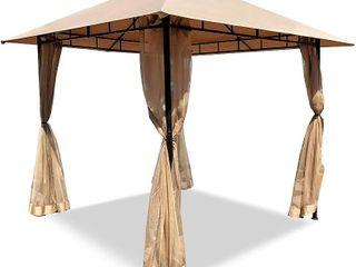 DikaSun Gazebos for Patios Single Roof Gazebo w  Curtains