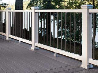 6 ft White Composite Deck Railing Kit With Black Balusters