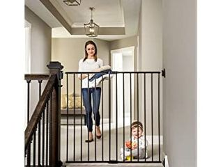 Regalo Extra Tall Top of Stair Metal Walk Through Safety Gate