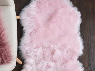 Sweet Home Collection Faux Fur Rug  3 X2  Pink