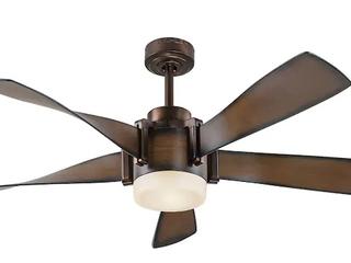 Twist 52  Mediterranean Walnut Finish Ceiling Fan W  light Kit   Remote Control