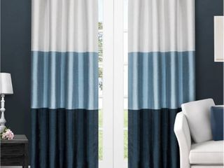 Set of 2 84 x54  Chateau Striped Faux Silk Grommet Top Window Curtain Panel Indigo   Exclusive Home