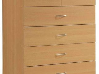 7 Drawer Chest with lock On 2 Top Drawers Pale Cream   Hodedah
