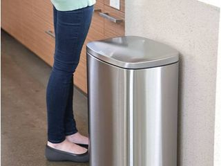 iTouchless SoftStep 13 2 Gallon Stainless Steel Step Trash Can  50 liter Pedal Garbage Bin for Kitchen  Office  Home   Silent and Gentle Open and Close