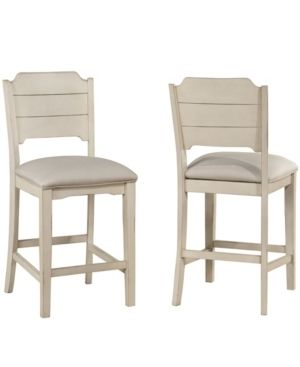 Set of 2 Clarion NonSwivel Open Back Counter Height Stool Sea White   Hillsdale Furniture