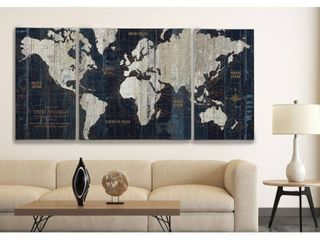 Old World Map Blue  3 Piece Graphic Art Print Set on Wrapped Canvas  Retail 236 49