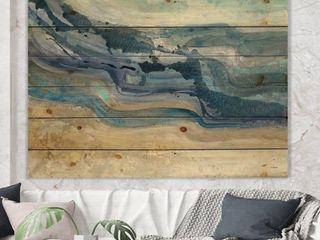 Designart  Coast Blue Sea Waves Watercolour  Modern Farmhouse Print on Natural Pine Wood  Retail 129 99