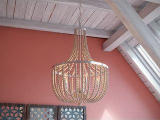 Zander 5 light Chandelier   Brushed Steel with White Wood Beads  Retail 322 20