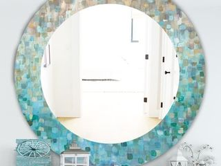 Silver Orchid Brian  Blocked Abstract  Traditional Mirror   Blue  Retail 182 99