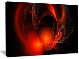 Designart  Red Galactic Nebula on Black  Extra large Abstract Canvas Wall Art  Retail 115 49