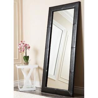 Abbyson Delano Black leather Floor Mirror  Retail 279 99