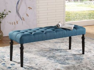 Copper Grove Sens Tufted Tan Fabric Dining Bench with Turned legs  Retail 96 99
