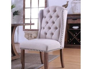 Furniture of America Farmhouse Upholstered Dining Chairs  Set of 2  Retail 414 67