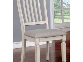 Furniture of America Keer Country White Fabric Dining Chairs  Set of 2  Retail 173 99