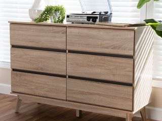 Mid Century Dark Grey 6 Drawer Dresser by Baxton Studio  Retail 331 99
