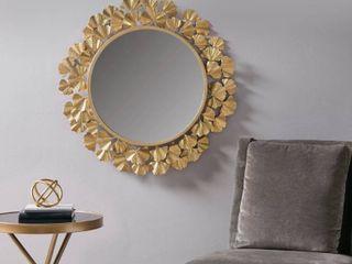 Martha Stewart Eden Gold Foil Ginkgo Mirror  Retail 146 99