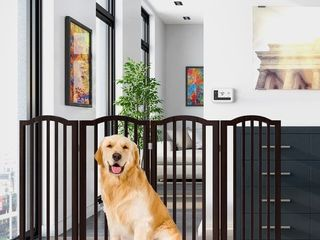 4 Panel Freestanding Scalloped Top Pet Gate by PETMAKER