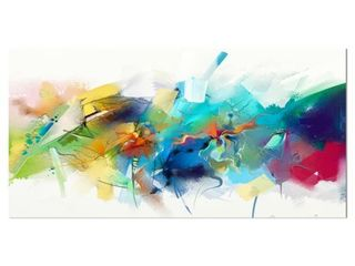 Designart  Brush Stroke Colorful Oil Painting  Contemporary Painting Print on Wrapped Canvas