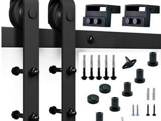Standard Black Sliding Door Track and Hardware Kit