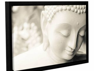 Andrew lever s  White Buddha  Gallery Wrapped Floater framed Canvas is a beautiful reproduction featuring a face of a white buddha   This wonderful piece will complement any home or office