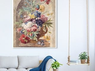 Oliver Gal  Huysum   Flower Still life  Classic and Figurative Wall Art Canvas Print   Brown  Red  Retail 168 99