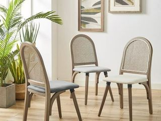 Art leon Rattan linen Fabric Cane Dining Side Chair with Bamboo Frame  Retail 233 99
