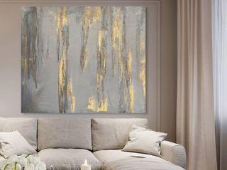 Oliver Gal  lluvia de Estrellas  Abstract Wall Art Canvas Print   Gold  Gray  Retail 173 99