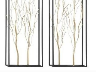 Tall Tree Wall Decor in Natural Silver Finish w Black Rectangle Frames Set of 2 13  X 36  Retail 97 99
