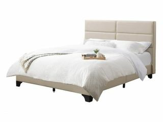 Queen Bellevue Wide Rectangle Panel Fabric Bed and Frame Cream  7 Corliving