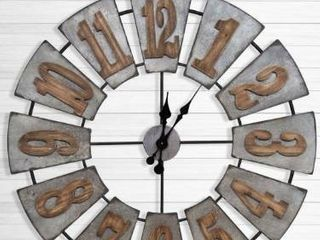Gallery Solutions Oversized Metal and Wood Windmill Wall Clock  Retail 135 49