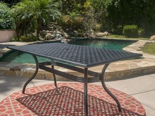 Cayman Outdoor Cast Aluminum Black Sand Rectangle Dining Table  ONlY  by Christopher Knight Home   Retail 425 49