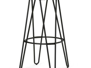 WYNDENHAll Kendall Industrial Metal 30 inch Metal Bar Stool with Wood Seat in Natural   Black   21 W x 21 D x 30 H