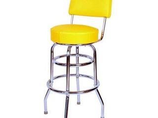 Retro Home 30 inch Swivel Bar Stool with Yellow Cushion  Retail 134 49