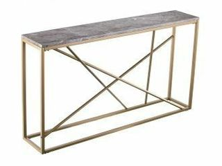 Southern Enterprises Arendal Skinny Console Table  29 H x 52 W x 10 D  Gold Gray