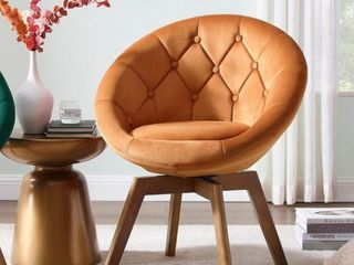 Incomplete  Carson Carrington Kallax Velvet Tufted Round Swivel Accent Chair  No Base  Retail 201 99