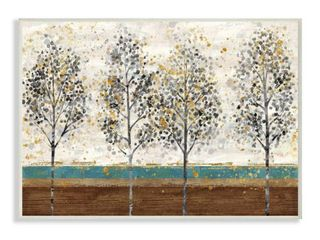 Stupell Industries Tree line Abstract Gold Blue landscape Painting Wood Wall Art