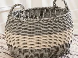 Hannah 20 Inch Oval Resin Storage and laundry Basket with Handles  Size l