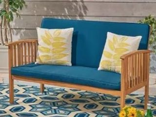 Devon Outdoor Acacia Wood loveseat by Christopher Knight Home  Cushions Not Included  Retail 565 99