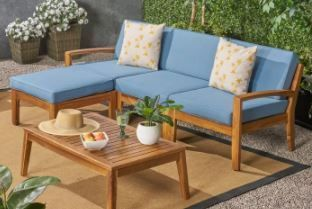 Grenada Outdoor 4 Seater Acacia Wood Sectional Sofa Set by Christopher Knight Home  Retail 1049 99