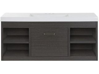 Style Selections Vada 48 in Sable Single Sink Bathroom Vanity with White Cultured Marble Top