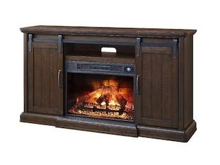 Febo Flame 62 in W Walnut Infrared Quartz Electric Fireplace
